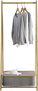 TLMYDD Cintre simple plancher de bambou chambre finition salon rack de stockage Panier de rangement (Color : Gray, Size : ...
