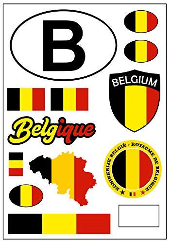 aprom Pegatina Bélgica para coche, diseño de bandera de Bélgica