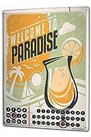 カレンダー Perpetual Calendar Nostalgic Motif Welcome Paradise Tin Metal Magnetic