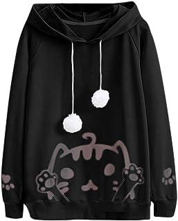 comprar comparacion Yesmile Mujer CamisetasLas Mujeres Camisa La Sudadera con Capucha Hairball de la impresión del Gato de la Manga Larga Ocas...