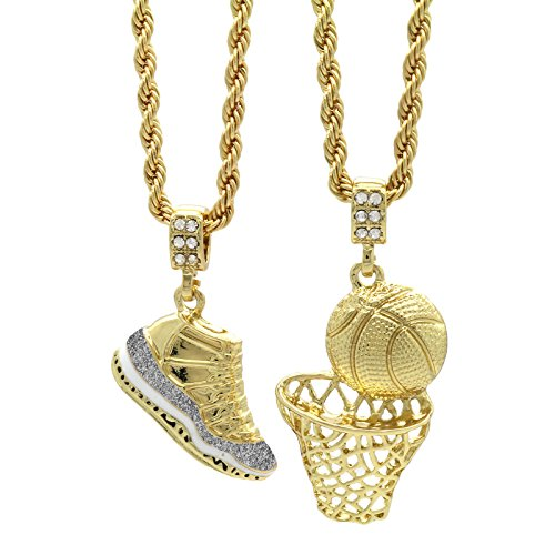 Mens Gold Plated Hip Hop Retro 11'Cool Grey' & Plain Basketball Pendant 4mm 24' Rope Chain