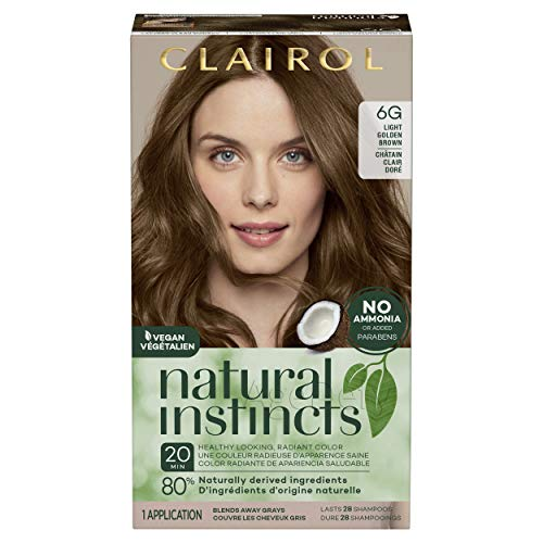 Clairol Natural Instincts Semi-Permanent, 6G Light Golden Brown, Toasted Almond, 1 Count, Brown Gold