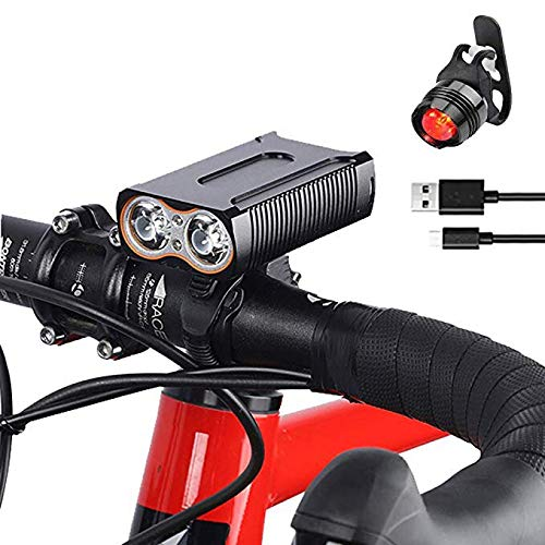 BESTSUN USB Rechargeable Bike Lights, Super Bright 5000 Lumens Bicycle Front Light and Back Taillight Set 4 Modes Waterproof Bicycle Headlight Cycle Headlamp for Road Cycling, Riding Night Safety