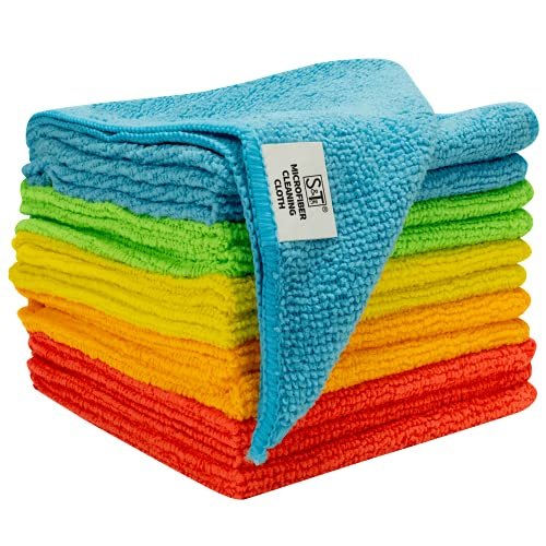 S&T INC. Microfiber Cleaning Cloths, Reusable and Lint Free Cloth Towels for Home, Kitchen and Auto, Assorted Color, 11.5 Inch x 11.5 Inch, 12 Pack