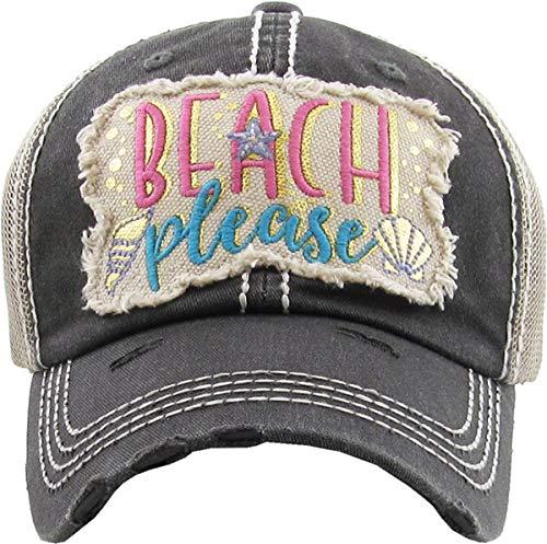H-212-BPM06 Distressed Baseball Cap - Beach Please Metallic (Black)