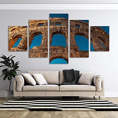 VKEXVDR Cuadro sobre Lienzo-5 Piezas- Arena -Cuadros Modernos Impresión de Imagen Artística Digitalizada|Lienzo Decorativo para Tu Salón o Dormitorio