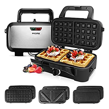 Metine Sandwich Maker Waffle Maker 3-in-1 Waffle Iron 1200W Power Panini Press with Removable Plates 5-gears Temperature Control Non Stick Coating Cool Touch Handle Anti-skid Feet for Breakfast