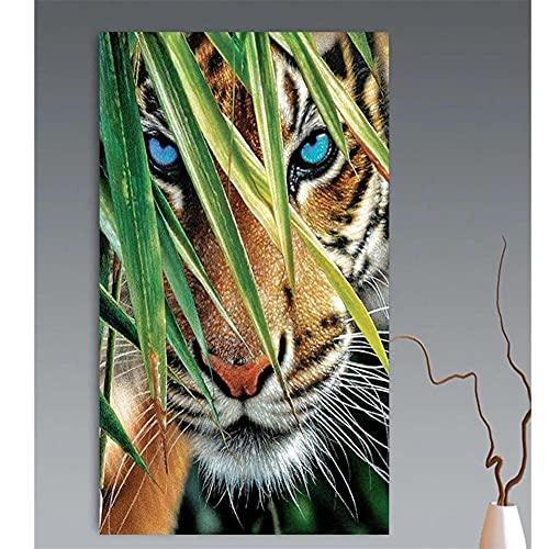 Grande Diamond Painting Cross stitch Kit, Tigre en la jungla 5D DIY completos diamantes de imitación de cristal bordado de Decoración de la sala de decoración pegatinas de pared(50x120cm/20x48in)