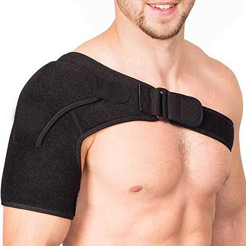 szdc88 Schulterstütze Band - Verstellbar Unisex Einheitsgröße Sports Einzelner Schulter Bandage für Links oder Rechts Schulter für Njury Erholung, Muskel Linderung, Gelenke Schutz - Schwarz, 50x23cm