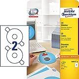 AVERY Zweckform L6015-25 selbstklebende CD-Etiketten inkl. Zentrierhilfe (50 blickdichte CD-Aufkleber, Ø 117mm auf A4, ClassicSize, bedruckbare Klebeetiketten für alle A4-Drucker) 25 Blatt, weiß