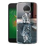 Zhuofan Plus Motorola Moto G5S Plus Hülle, Silikon Transparent Schutzhülle mit Muster Motiv Handyhülle Weiche TPU 360 Grad Bumper Kratzfest Durchsichtige Hülle Cover für Moto G5SPlus 5,5