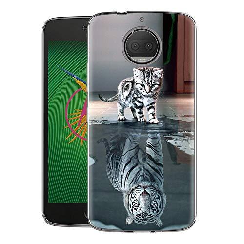 Zhuofan Plus Cover Motorola Moto G5S Plus, Custodia Clear Silicone Soft Transparent TPU Gel con Design Print Pattern AntiGraffio Antiurto Protactive Cover per Motorola Moto G5S Plus, Tigre di Gatto