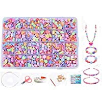 Jewellery Making Kit- Beads Set for Kids Adults Children Craft DIY Necklace Bracelets Letter Alphabet Colorful Acrylic Crafting Beads Kit Box with Accessories (color 3#)