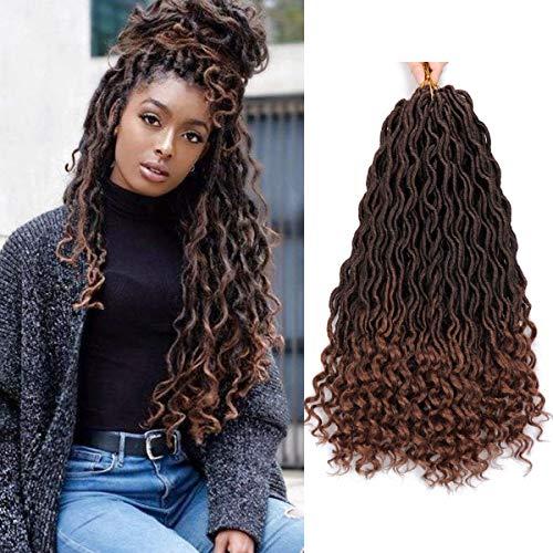 6Pcs/Lot Goddess Faux Locs Crochet Hair 18 Inch Curly Wavy Goddess Locs Braiding Hair Deep Wave Dreadlocks Synthetic Braiding Hair Extensions Wavy Goddess Locs Crochet Hair 24 Strands/Pack (T1B/30#)