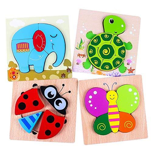 Holzpuzzle 3D Kinder 4 Stücke, Tier Steckpuzzle Holz Spielzeug für Kinder 1 2 3 Jahre,Baby Lernspielzeug Schildkröte Marienkäfer Elefant Schmatterling Geschenk für Weihnachten, Geburtstag, Kinderstag