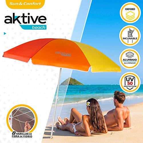 Aktive 62220 - Sombrilla de playa, con protección UV filtro 50, mástil diámetro 22-25 mm, incluye bolsa para transportarla, estampado multicolor, diámetro 180 cm,