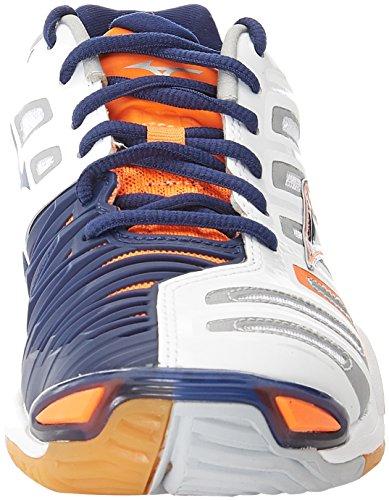 Mizuno Herren Wave Stealth American Handball Schuhe, Mehrfarbig (White/bluedepths/orangeclownfish), 45 EU - 4