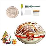 AIWITHPM Cesta Fermentacion Pan Canasta de Masa para Hornear (Redonda, Ø 22.8 cm) con Metal y Plastico Raspadores Masa+Cepillo+Forro de Lino+Bread Lame