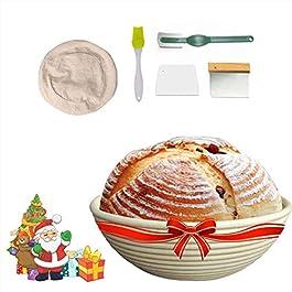 Banneton Pain Rond Panier 22.8 cm,Panier en Rotin,Banneton Brotform Pâte Pour Pain et Pâte,avec Doublure en Tissu/Pain…
