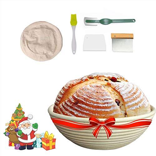 Cesta Fermentacion Pan Canasta de Masa para Hornear (Redonda, Ø 22.8 cm) con Metal y Plastico Raspadores Masa+Cepillo+Forro de Lino+Bread Lame