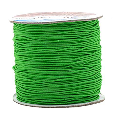 Mandala Crafts 1mm Elastic Cord Stretchy String for Bracelets, Necklaces, Jewelry Making, Beading, Masks; 109 Yards Irish Green