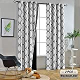 Melodieux Moroccan 100% Blackout Curtains for Bedroom 96 Inches Long, Living Room Thermal Insulated Black Liner Grommet Drapes, 52 by 96 Inch, Off White/Grey (2 Panels)