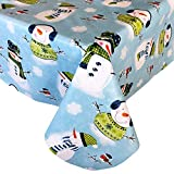 """Newbridge Blue Snowy Snowman Print Flannel Back Vinyl Christmas Tablecloth - Cute Snowmen in Sweaters and Scarves Xmas Winter Holiday Wipe Clean Easy Care Tablecloth, 70"""" Round"""