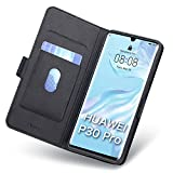 Aunote Hülle Huawei P30 Pro, Hülle Huawei P30 Pro New Edition, Handyhülle P30 Pro, Schutzhülle P30 Pro, Tasche P30 Pro, Klapphülle P30 Pro, Etui Flip Phone Cover Hülle. P30 Pro Hülle Klappbar. Schwarz