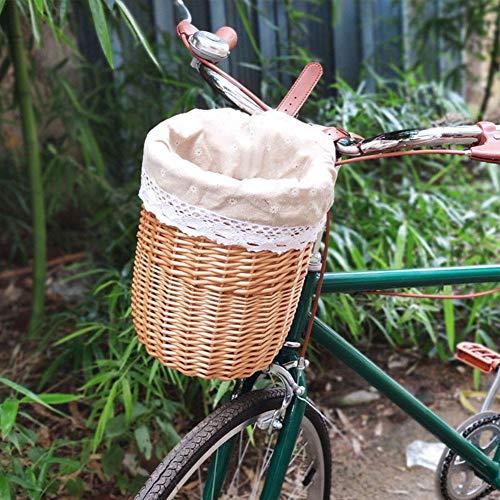 N/P Cestino per Bici-Bicicletta in Vimini Manubrio Anteriore per Bici Cestino per Bici in Vimini, Tessuto Artigianale Folk Manubrio per Bicicletta Cestello portaoggetti Staccabile Colore Legno-Acqua