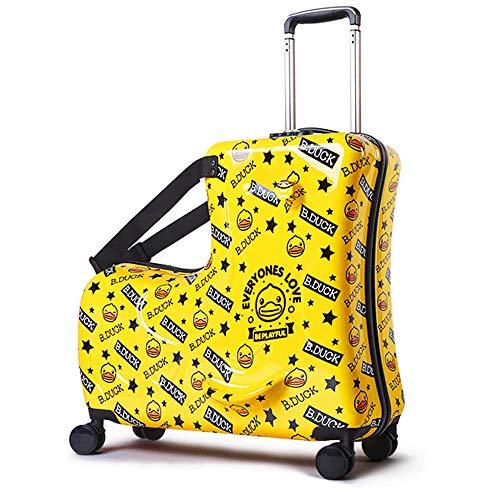 B.Duck スーツケース 子供が乗れる 木馬形 C-J-W キッズキャリーケース キャリーバッグ 軽量 静音 かわいい 小型 Mサイズ 丈夫 旅行 お出掛け 帰省 遠足