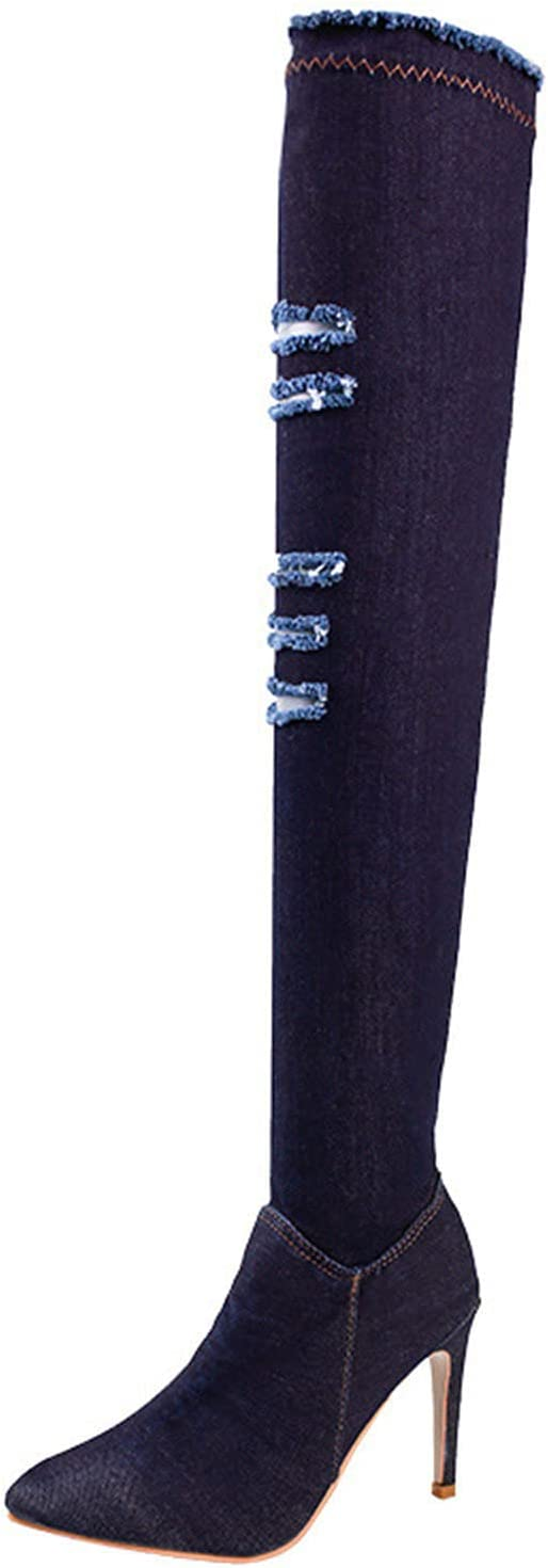 Women's Denim Ripped Pointed Toe Long Tube Boots Fashion High Heel Over The Knee Boots Shoes(Dark Blue,39)