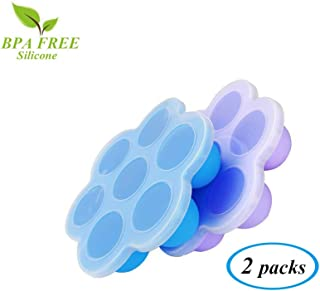Silicone Egg Bites Molds For Instant Pot Accessories (2 Packs) with Silicone Lids - Fits Pressure Cooker 3, 5,6,8qt,Tiny Size Reusable Baby Food Storage Container Freezer Ice Tray