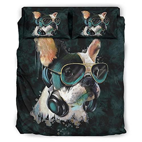 Yzanswer Bulldog francés gafas de sol acuarela transpirable y refrigeración cama Set resistente a las manchas 4 piezas para el hogar blanco 203x230cm