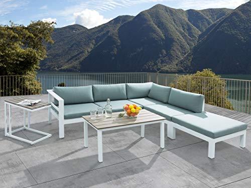 Beliani Conjunto de jardín en Aluminio Blanco/Verde Messina