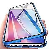 Orgstyle Hülle für Oppo Find X2 Pro 5G [Nein für veganes Leder Find X2 Pro 5G], Magnetische Hartglas Hülle mit Vorderseite & Rückseite, Metallrahmen Hülle, Ultra Dünn 360 Grad Handyhülle, Blau