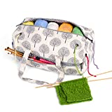 LUXJA Knitting Bag, Yarn Bag for Yarn Skeins, Crochet Hooks, Knitting Needles (up to 14 Inches) and Other Accessories, Tree