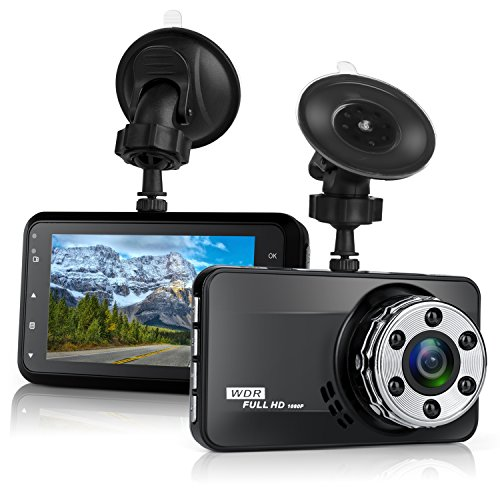 "Dash Cam,Bekhic Dash Camera for Cars with Full HD 1080P 170 Degree Super Wide Angle Cameras, 3.0"" TFT Display, G-Sensor, Night Vision, WDR, Loop Recording"