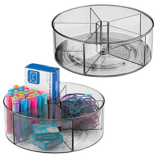 mDesign Deep Plastic Lazy Susan Turntable Storage Container - Divided Spinning Organizer for Home Office Supplies, Pens, Erasers, Tape, Colored Pencils - 2 Pack - Smoke Gray