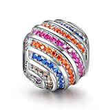 NINAQUEEN Charm Pandora adattarsi Arcobaleno Idee Regalo Donna Argento 925 Zirconio Perline per la Madre Fidanzata Moglie