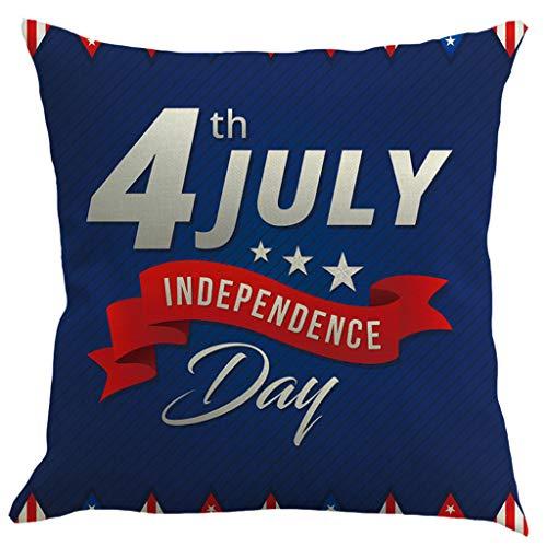Ronamick Funda de almohada creativa de lino para el día de la independencia, funda de almohada para sofá, decoración del hogar, 45 cm x 45 cm (multicolor)