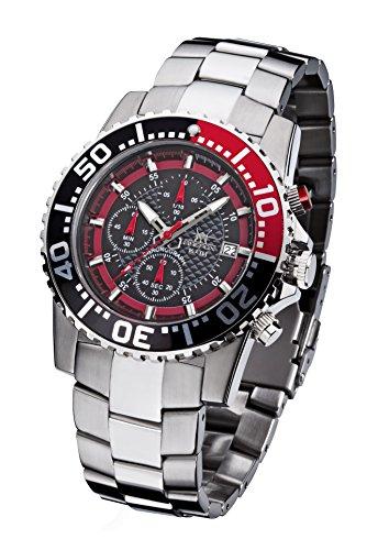 FIREFOX Zion FFS17-102b schwarz/rot Herrenuhr Armbanduhr Chronograph massiv Edelstahl Sicherheitsfaltschließe 10 ATM Water Resistant