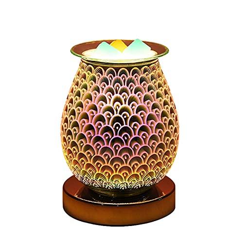 QLIGHA Lámpara de Mesa de aromaterapia de Cera fundida Lámpara de Vela de fusión 3D Lámpara de aromaterapia para calefacción y Ayuda para Dormir sin Humo Seguro
