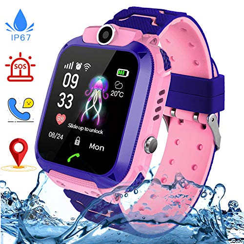 Kinder SmartWatch Phone Smartwatches mit Wasserdicht IP67 SOS Voice Chat Kamera Wecker Digitale Armbanduhr Smartwatch Junge Mädchen Birthday