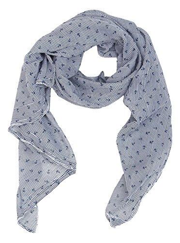 Zwillingsherz Seiden-Tuch mit Anker-Print - Hochwertiger Schal für Damen Mädchen - Halstuch - Umschlagstuch - Loop - weicher Schlauchschal für Sommer Herbst und Winter von Cashmere Dreams navy
