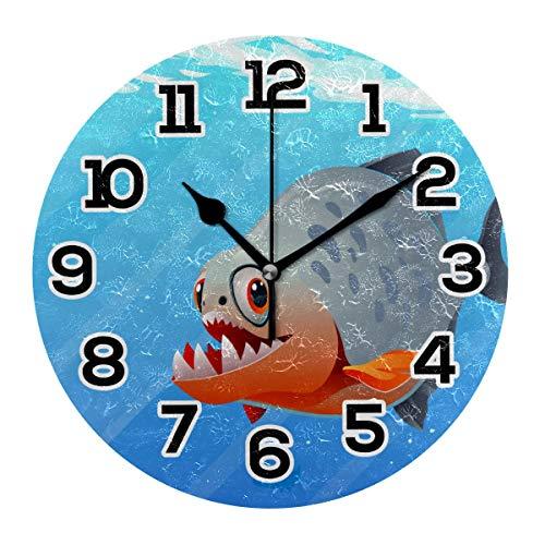 BONIPE Wanduhr Underware Funny Piranha Fish Silent Non Ticking Acryl 25,4 cm Home Deko Büro Schule Runde Uhr Kunst