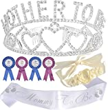 Mother To Be Tiara Hearts Crown Silver + Maternity Flower Belly Belt Cream