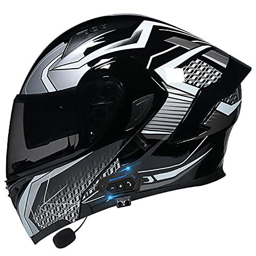 Casco Moto Modular Bluetooth Incorporado Casco Moto Integral ECE Aprobado Casco Scooter con Doble Visera Anti Vaho para Hombre y Mujer Casco de Motocicleta para Adultos 55~60cm
