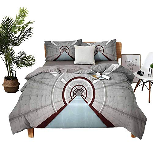 Apartment Decor Decorative 3 Piece Bedding Set Includes Pillowcases Flat and Fitted Sheets Queen Futuristic Corridor Inter with Lights Future Science Fiction Architecture Illustration Print Grey