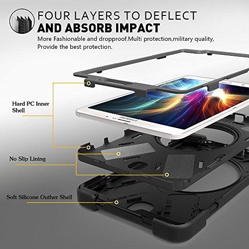 Zenrich Galaxy Tab S2 8.0 Case, zenrich Rotating High Impact Heavy Duty Armor Cover W/ Hand Strap Handle Shoulder Belt Carry Kickstand Skin for Samsung Galaxy Tab S2 SM-T710 T713 T715 (Black)