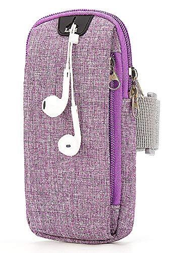 Sebasti Bolso deportivo para teléfono móvil al aire libre, para hombre y mujer, con brazo transpirable para el teléfono móvil, bolsa de muñeca (rosa roja-pequeña, 5.5 pulgadas)